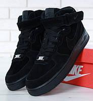 "Зимние мужские кроссовки в стиле Nike Air Force 1 High ""Black"" c мехом"