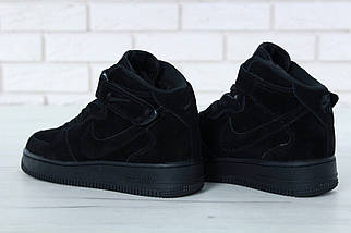 """Зимние мужские кроссовки Nike Air Force 1 Mid """"Black"""" c мехом, nike air force high, фото 2"""
