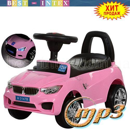 Каталка-толокар Bambi M 3147B(MP3)-8 BMW Розовый+ фары-СВЕТ+Музыка!!!