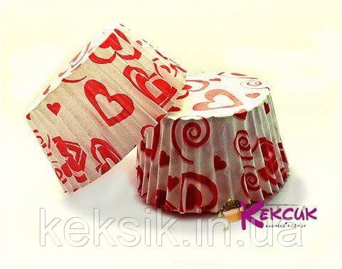 Тарталетки Сердечки красные 50*30 100 шт - 7а