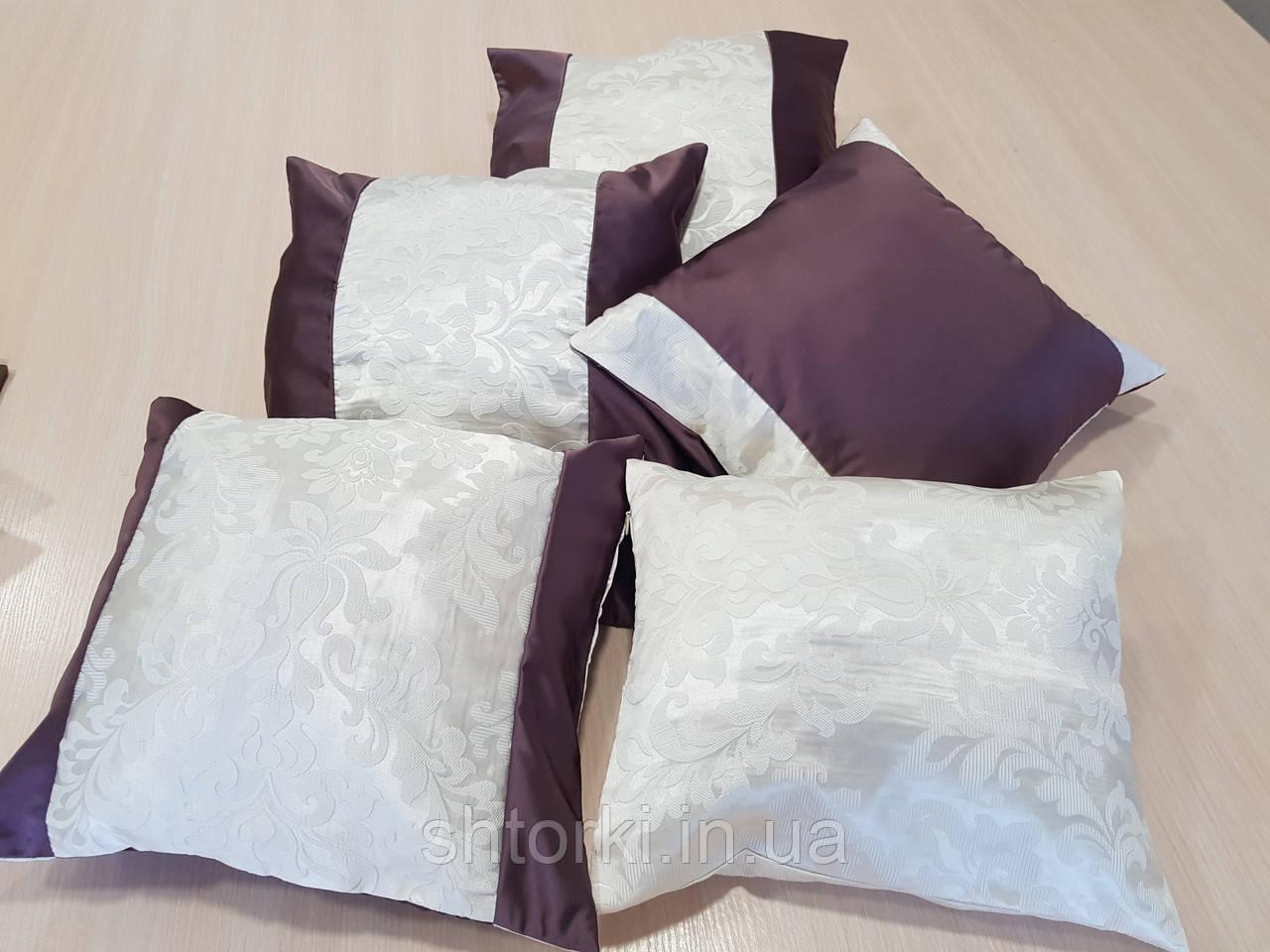 Комплект подушек   сирень и молочные завитки,5шт