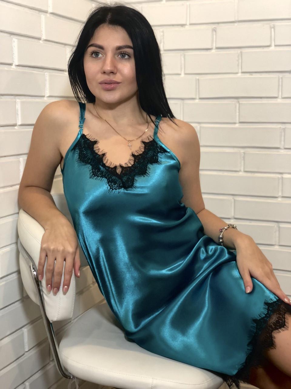 Женская одежда для дома и сна, атласный пеньюар с черным кружевом