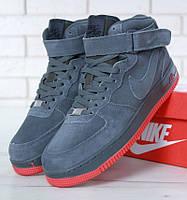 """Зимние мужские кроссовки в стиле Nike Air Force 1 High """"Grey"""" c мехом"""