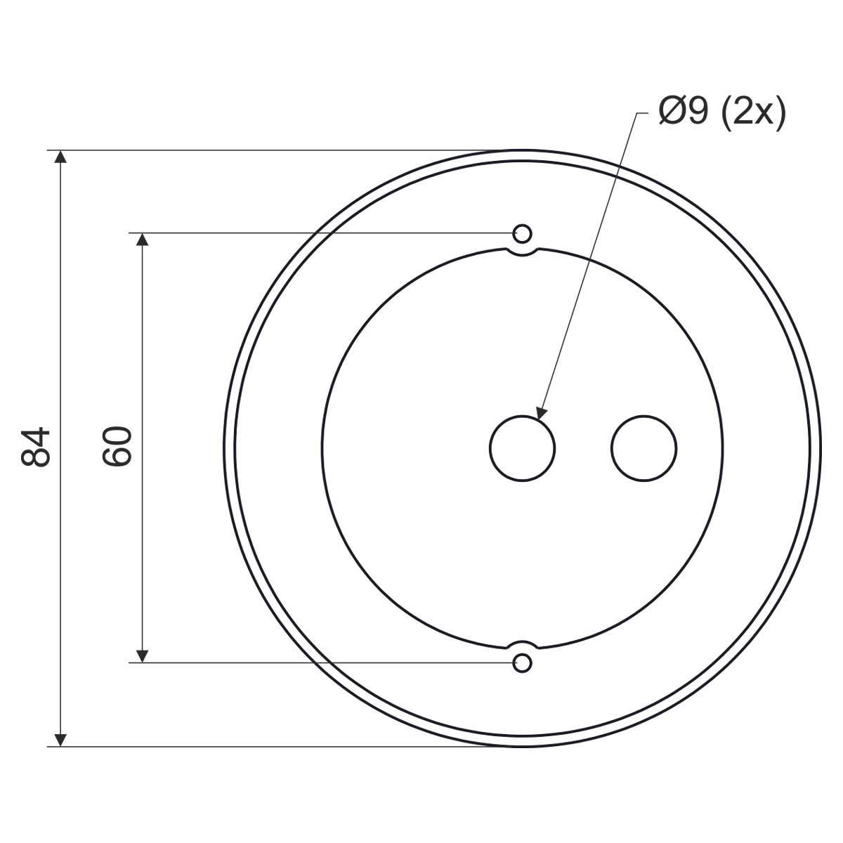 Кришка коробки з гаком для монолітного бетонобудування; РVC; біла; 84х60мм