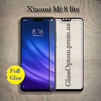 Защитное стекло 2.5D на весь экран (с клеем по всей поверхности) для Xiaomi Mi 8 lite