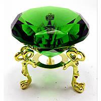 Кристалл хрустальный на подставке зеленый (5 см) ( 18161)