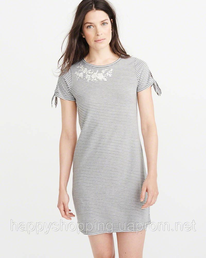 Женское серое мини платье в полоску с вышивкой  Abercrombie & Fitch