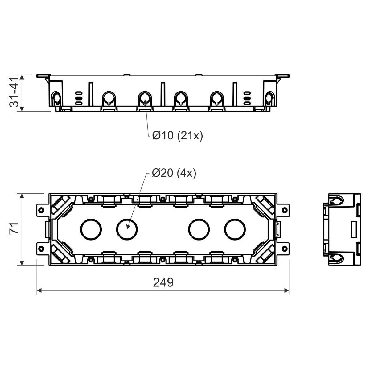 Коробка для приладів KOPOBOX 80; сіра; 71х249 мм;  для підлоги; зі змінною глиб.