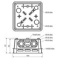 ДО 125 Е Коробка розподільча із кришкою 150х150х77мм