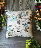 Подушка диванная голубые розы,  35 см * 35 см