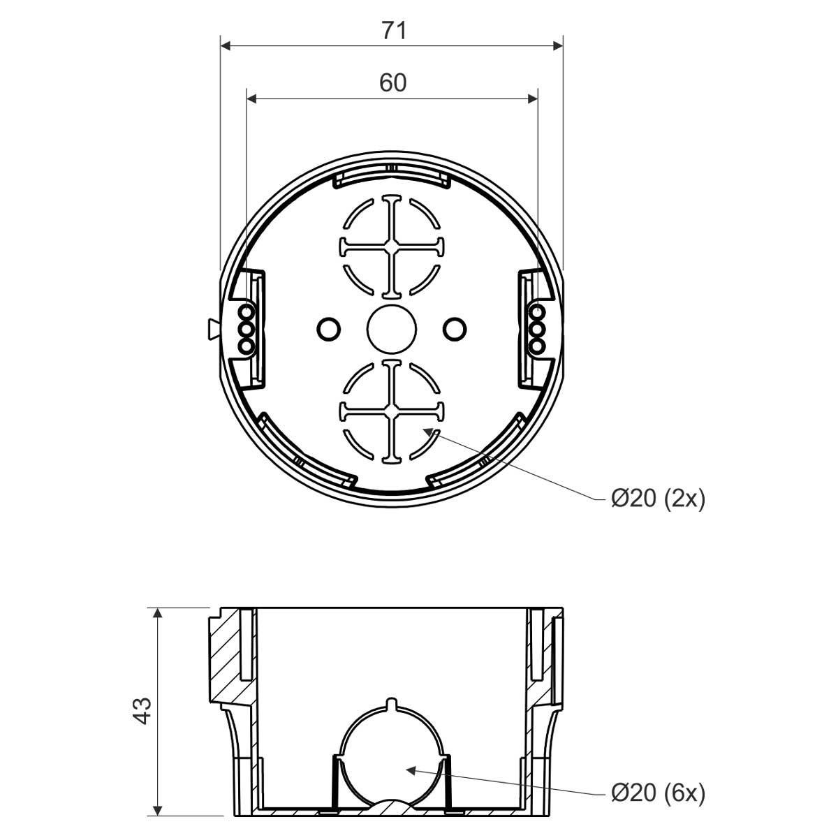Коробка приладова в тверді стіни; з'єднуються між собою; ПВХ; сіра; Ø74х43мм