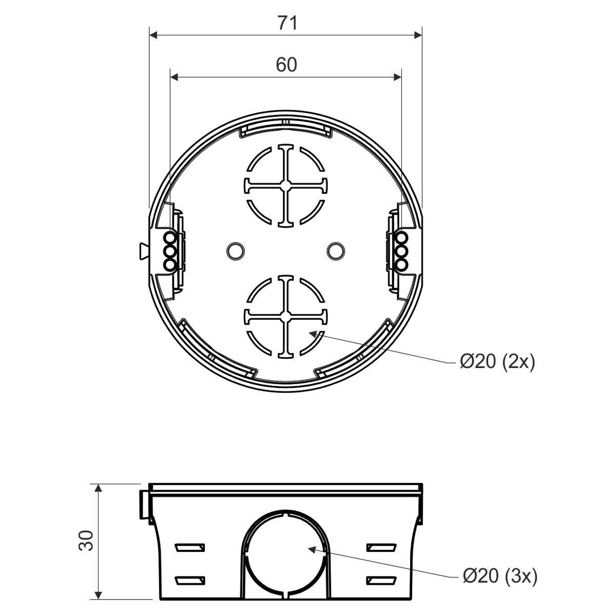 Коробка приладова в тверді стіни; з'єднуються між собою; ПВХ; сіра; Ø73х30мм