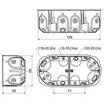 Коробка приладова в пустотілі стіни; подвійна; з еластичними вводами; ПВХ; жовта; 138х68х50мм