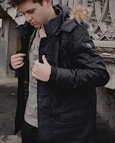 Теплая мужская куртка с мехом черная топ реплика, фото 3