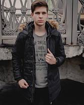 Теплая мужская куртка с мехом черная топ реплика, фото 2