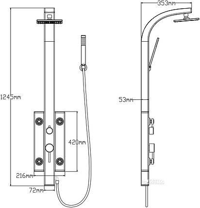 Душевая панель Q-Tap 1102 SIL, фото 2