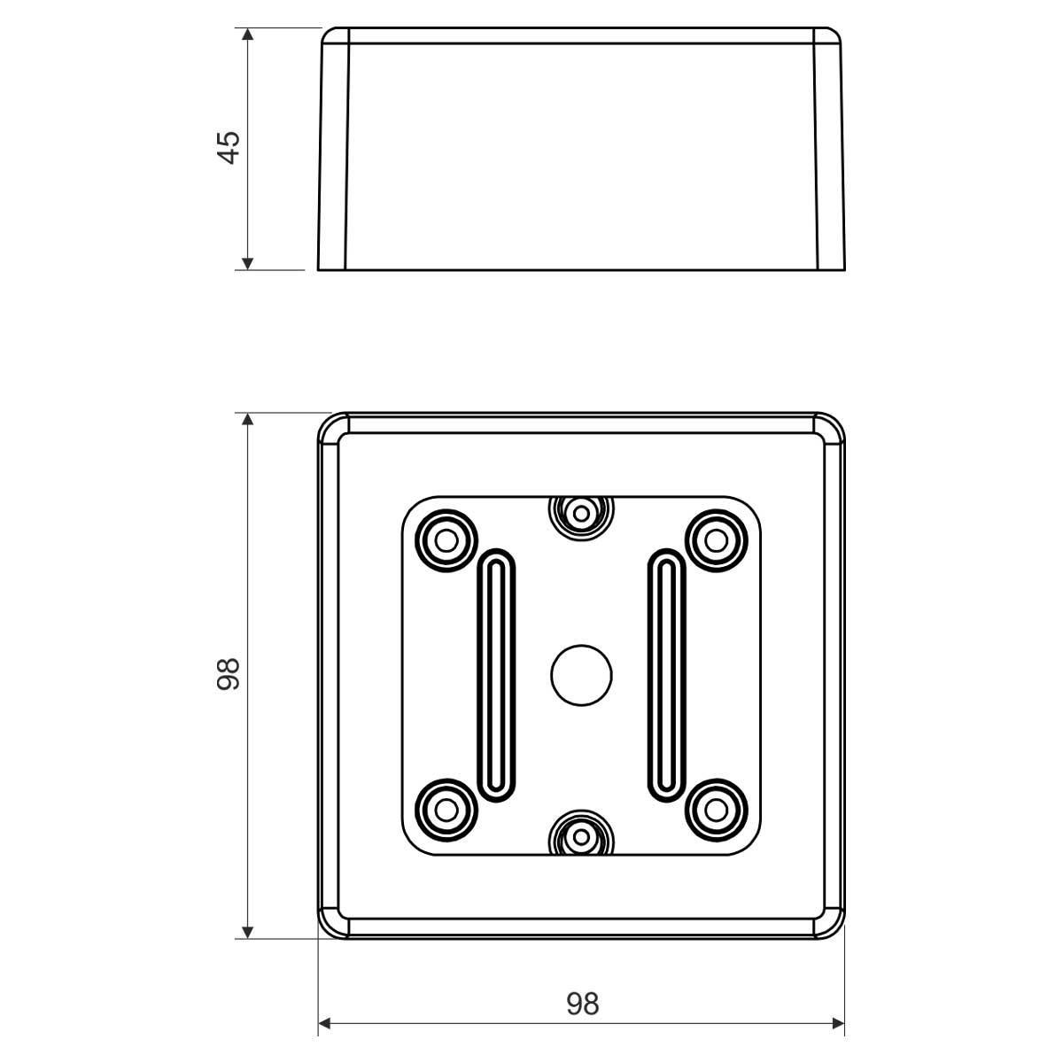 Коробка універсальна ПВХ; розміри 98х98х45мм