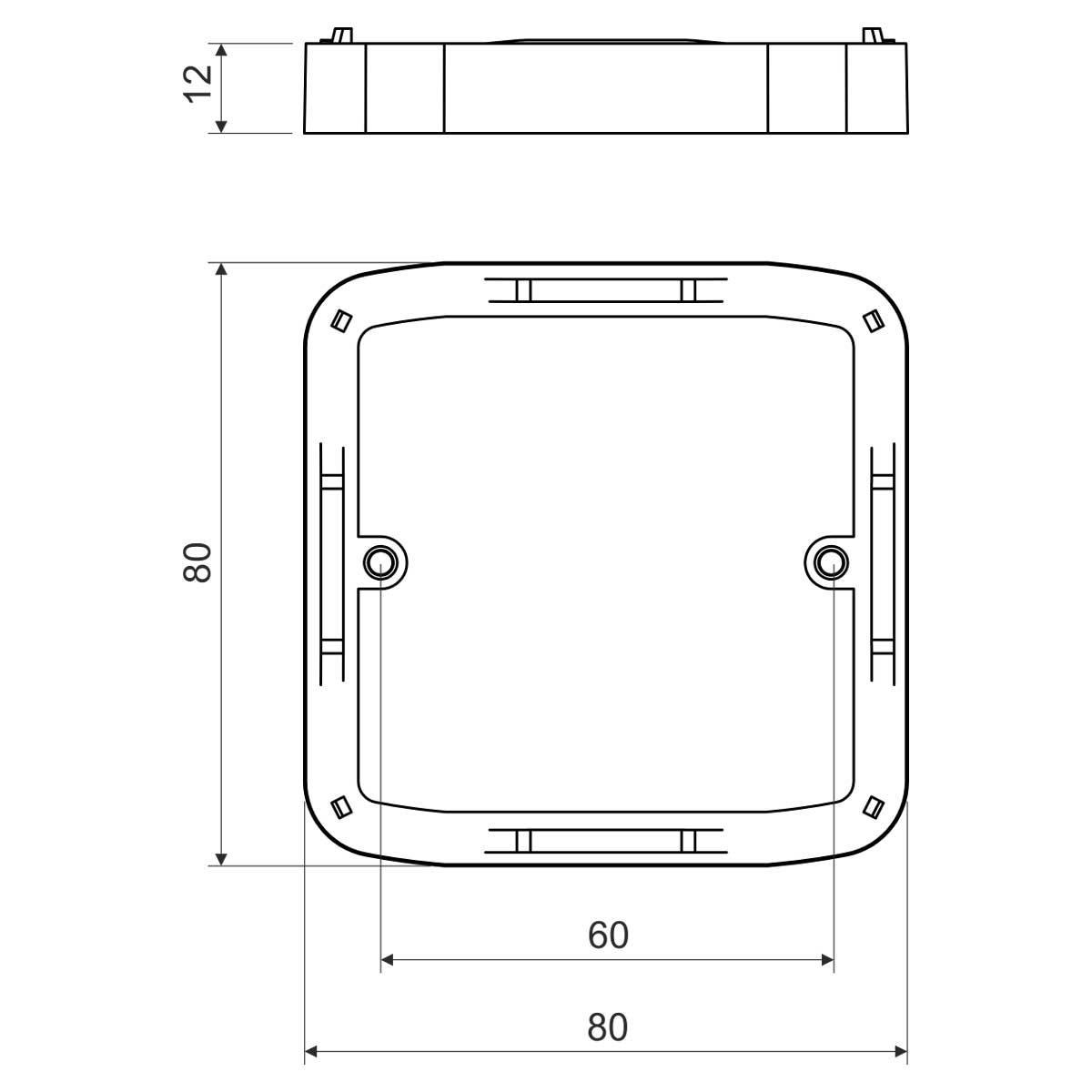 Рамка надставна до коробок серії LK...T; розміри 80,5х80,5х12мм; ПВХ
