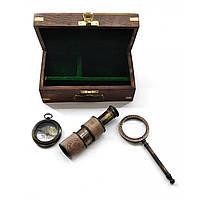 Лупа с компасом и подзорная труба в деревянном футляре (16,5х9,5х7,5 см)A ( 28300A)