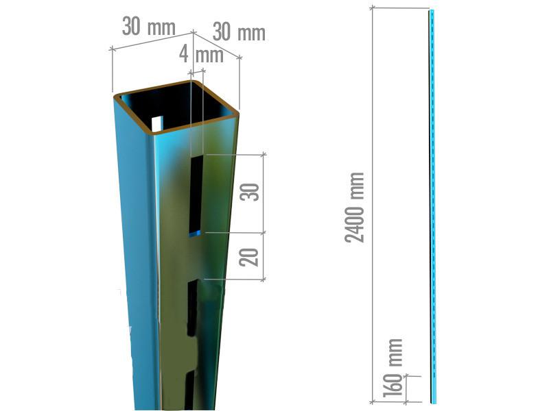 Профіль перфорований квадратний двосторонній в хромі висотою 2400мм європейського торгового обладнання