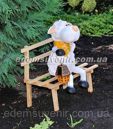 Садовая фигура Овечка на скамейке с фонарем, фото 2