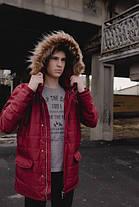 Теплая мужская куртка с мехом красная топ реплика, фото 2