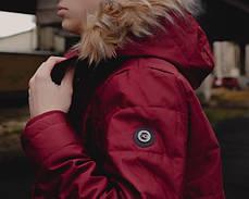 Теплая мужская куртка с мехом красная топ реплика, фото 3