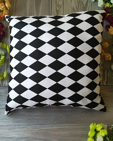 Подушка черно-белый арлекин,  35 см * 35 см, фото 2