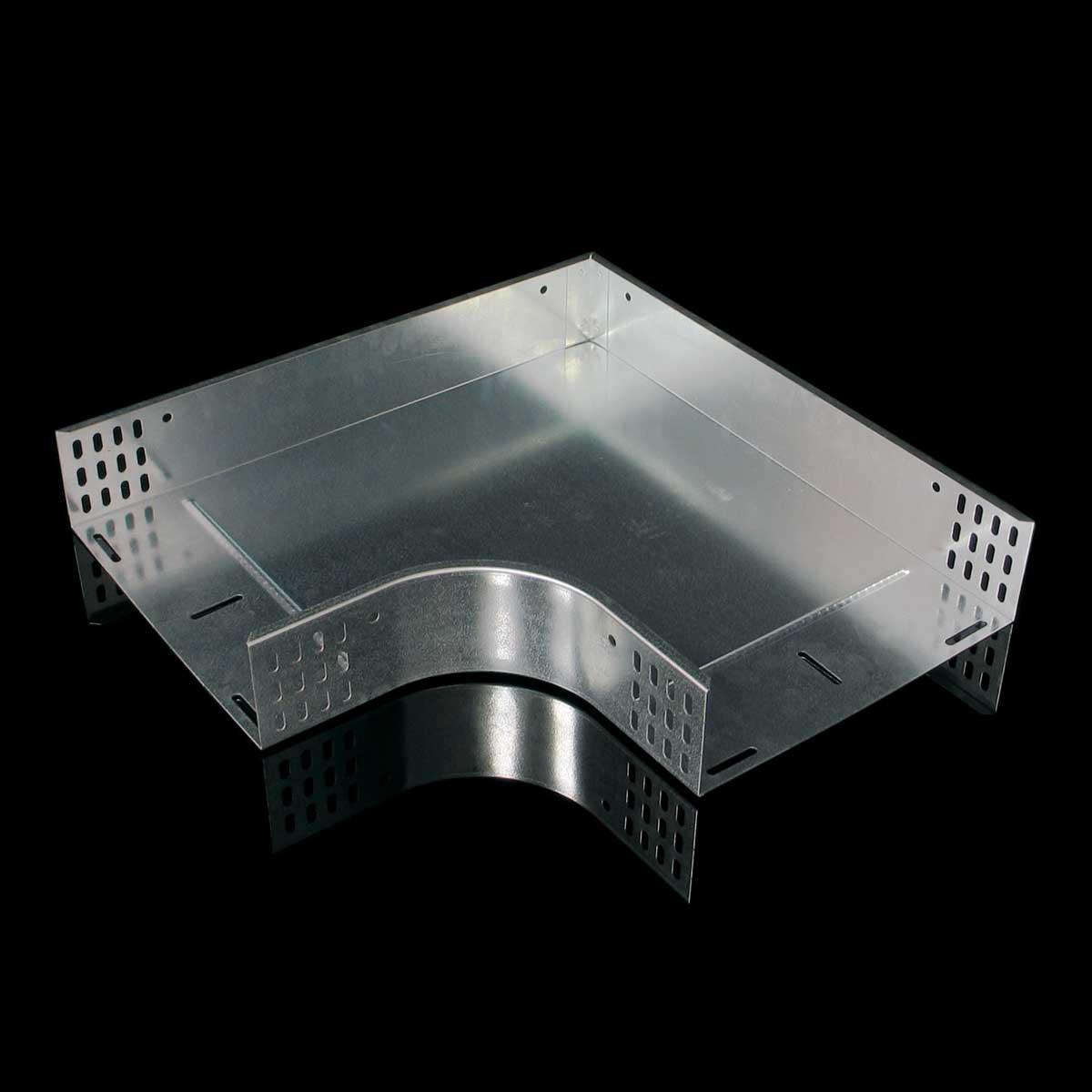 Поворот горизонтальний 90° для лотка JUPITER; розміри-85x600x800mm Товщ. метал-1,2 Вага-6,54кг/м