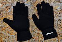 Перчатки флисовые черные мужские теплые черные Adidas Originals Fleece Gloves Адидас Ориджиналс
