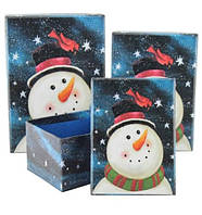 Комплект Новогодних подарочных коробок Снеговичок