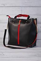 Женская классическая сумка формата А4, черный с красным, фото 1