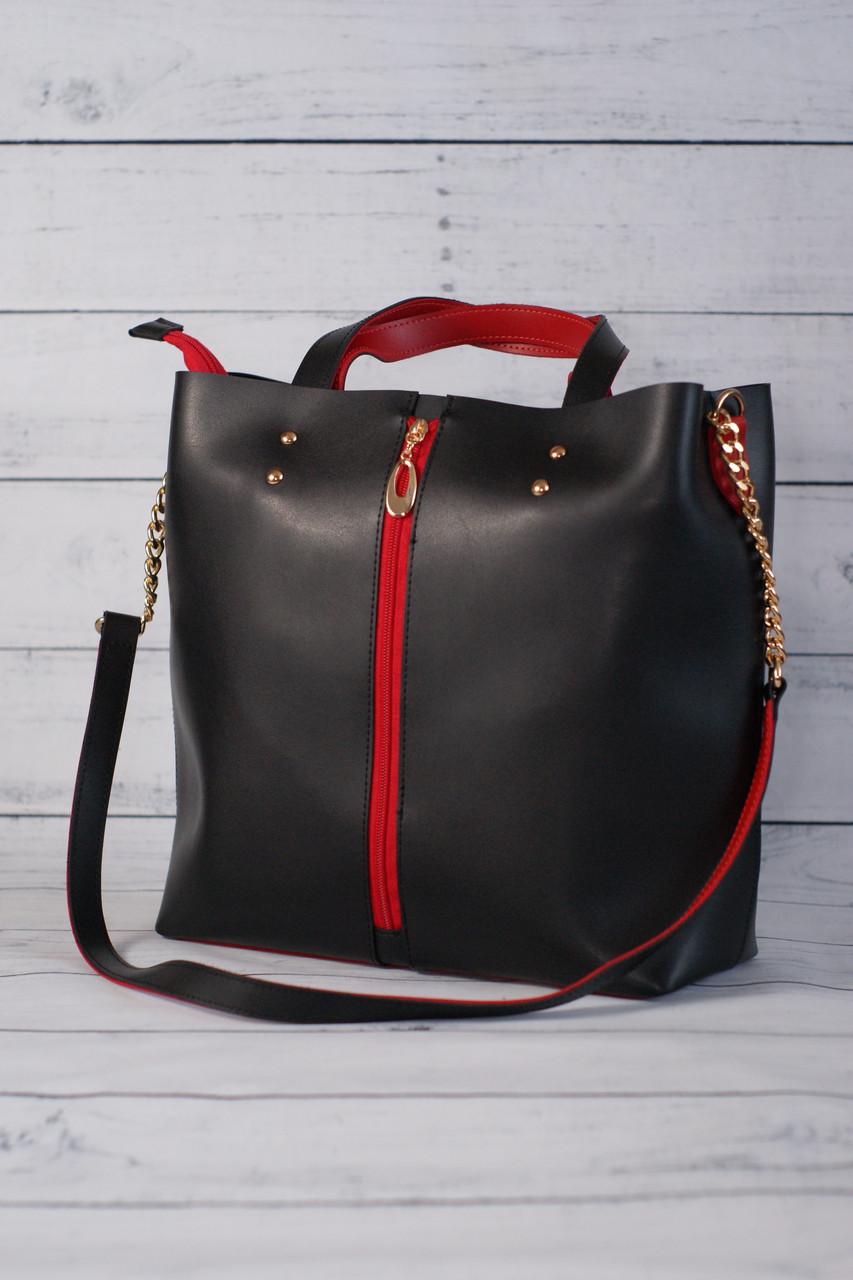 Женская классическая сумка формата А4, черный с красным