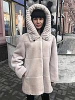 Шуба женская натуральная мутоновая белая с капюшоном, фото 1