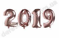 """Шары-цифры на Новый год """"2019"""", розовый металлик, 58×70 см"""