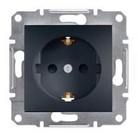 Розетка одинарная с з/к и защитными шторками антрацит Asfora Schneider electric EPH2900271