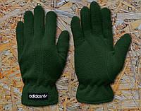 Перчатки зеленые мужские теплые из поларфлиса Adidas Originals Fleece Gloves Адидас Ориджиналс
