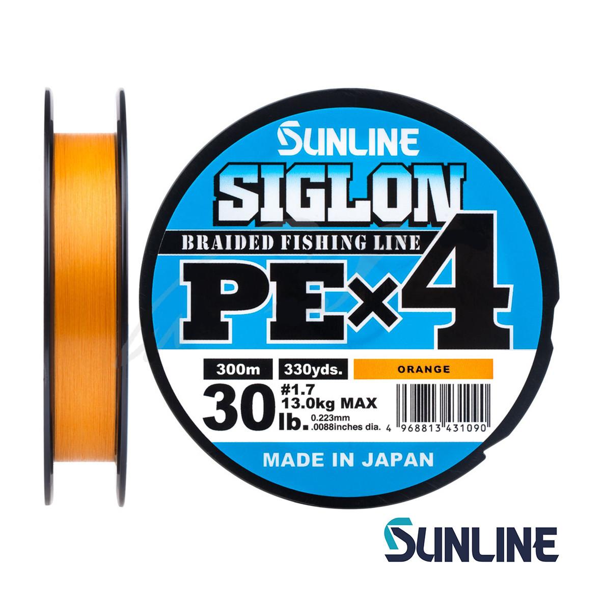 Шнур Sunline Siglon PE х4 300m (оранж.) #3.0/0.296mm 50lb/22.0kg