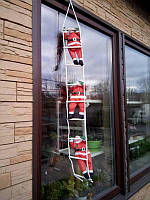 Три Деда Мороза на светящейся лестнице 30см.