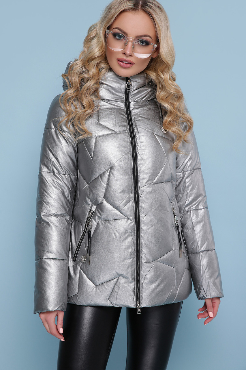 Женская зимняя куртка из эко-кожи серебро