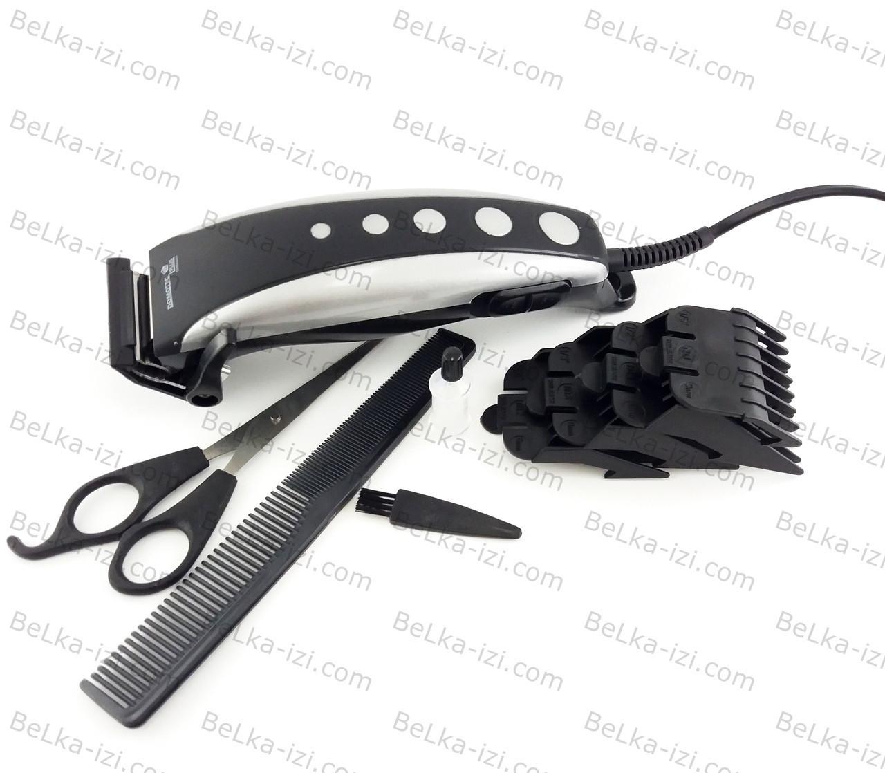 Машинка для стрижки волос, 4 насадки, ножницы, расческа