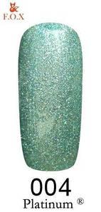 Гель-лак F.O.X. 6 мл Platinum 004 светло зелёный перламутровый металлик