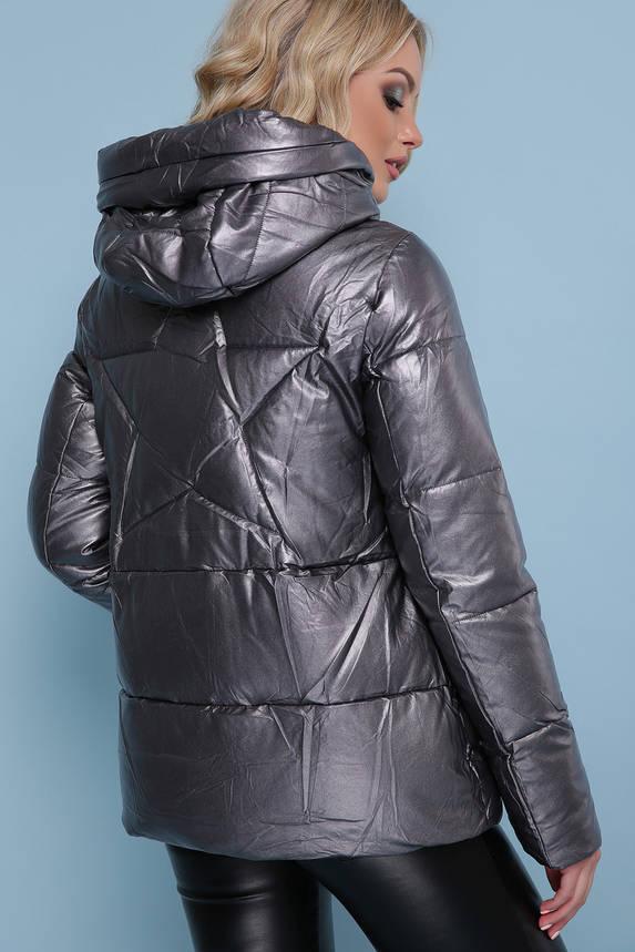 Женская зимняя куртка из эко-кожи графит, фото 2
