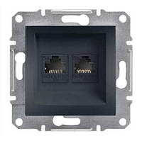Розетка комп'ютерна подвійна антрацит Schneider electric Asfora EPH4400171