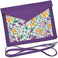 Клатч конверт фіолетовий Квіткове поле. АРТ