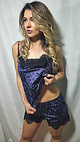Шикарная бархатная пижама с шортами украшена французским кружевом , размеры от 42 до 54, фото 2