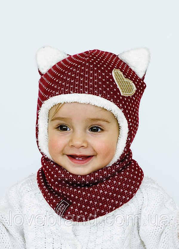 Набор шапочка с ушками + хомут Dembohouse (Україна) Зима бордовый