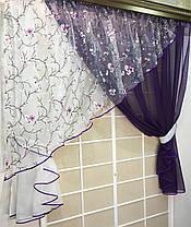 """Кухонные шторы """"Сакура"""" Фиолет, фото 2"""