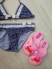 Купальник раздельный детский синий белые рюши -160-02, фото 3