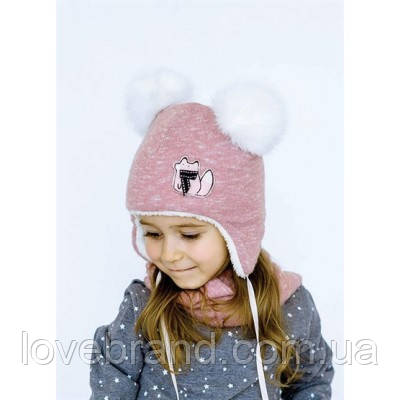 Набор шапочка с ушками + хомут Dembohouse (Україна) Зима пудра